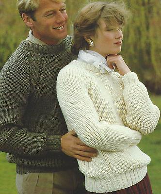 Easy Knit Ladies   Mens Raglan Sweater Aran Knitting Pattern 32-44