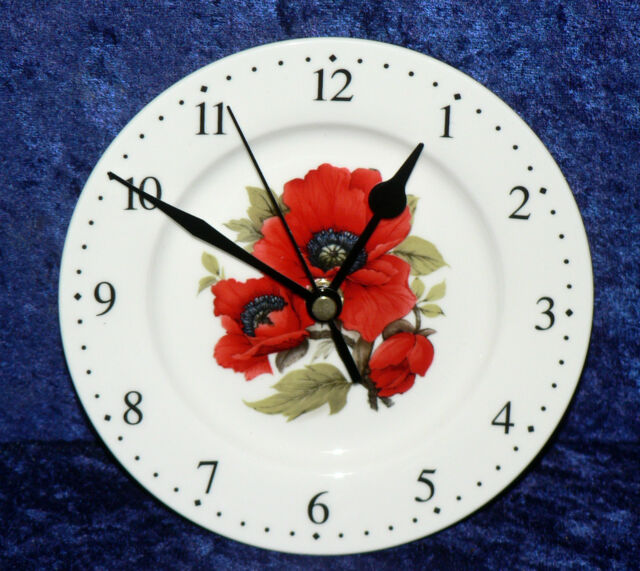 Poppy poppies wall clock porcelain wall clock - gift  boxed