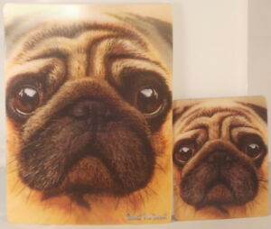 Mops-Postkarte-und-Magnet-Looking-At-You-3D-16cm-x-12cm-und-9cm-x-7cm