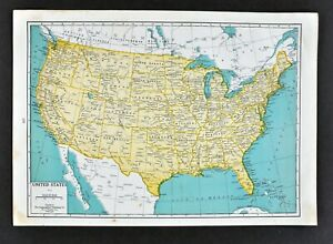 Map Of America Texas.Details About 1944 Geographical Map United States America Texas California New York Florida