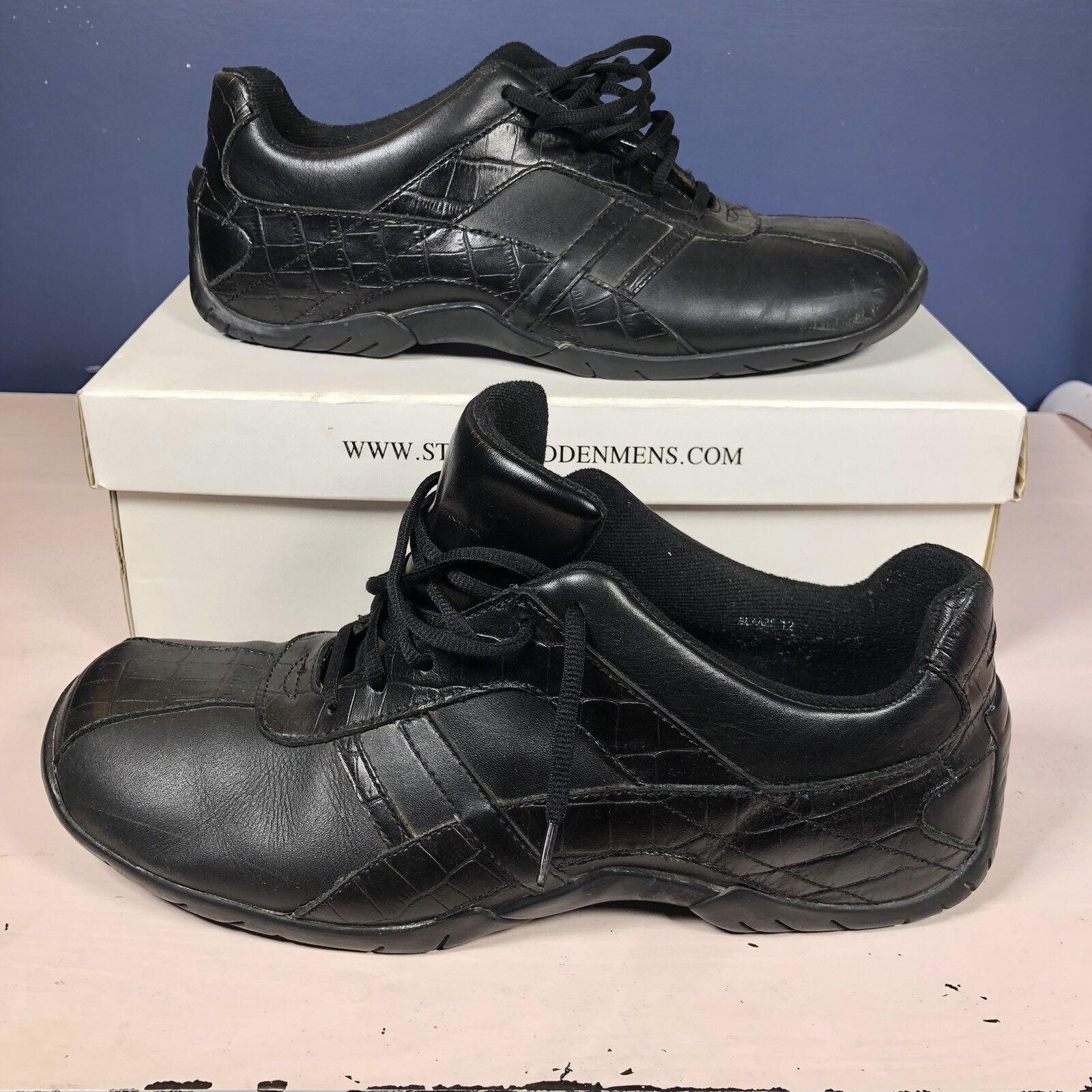 Steve Size Madden Men's Shoes Blaaze Size Steve 12 Black Leather Walking Athletic 4acb43