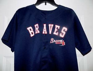 uk availability 793db 2e84c Details about ATLANTA BRAVES Major League MLB Genuine Merchandise Size L  Baseball Boys Jersey