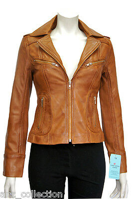 Candice Tan Ladies Woman's Designer Fashion Washed Soft Lambskin Leather Jacket