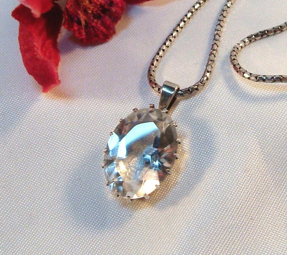 Großer Bergkristall Anhänger moderne Halskette 925 silver   bg 472