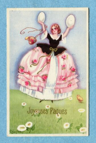 "A7192 Postcard Chiostri ""Joyeuses Paques"" Happy Easter Woman, Large Eggs"