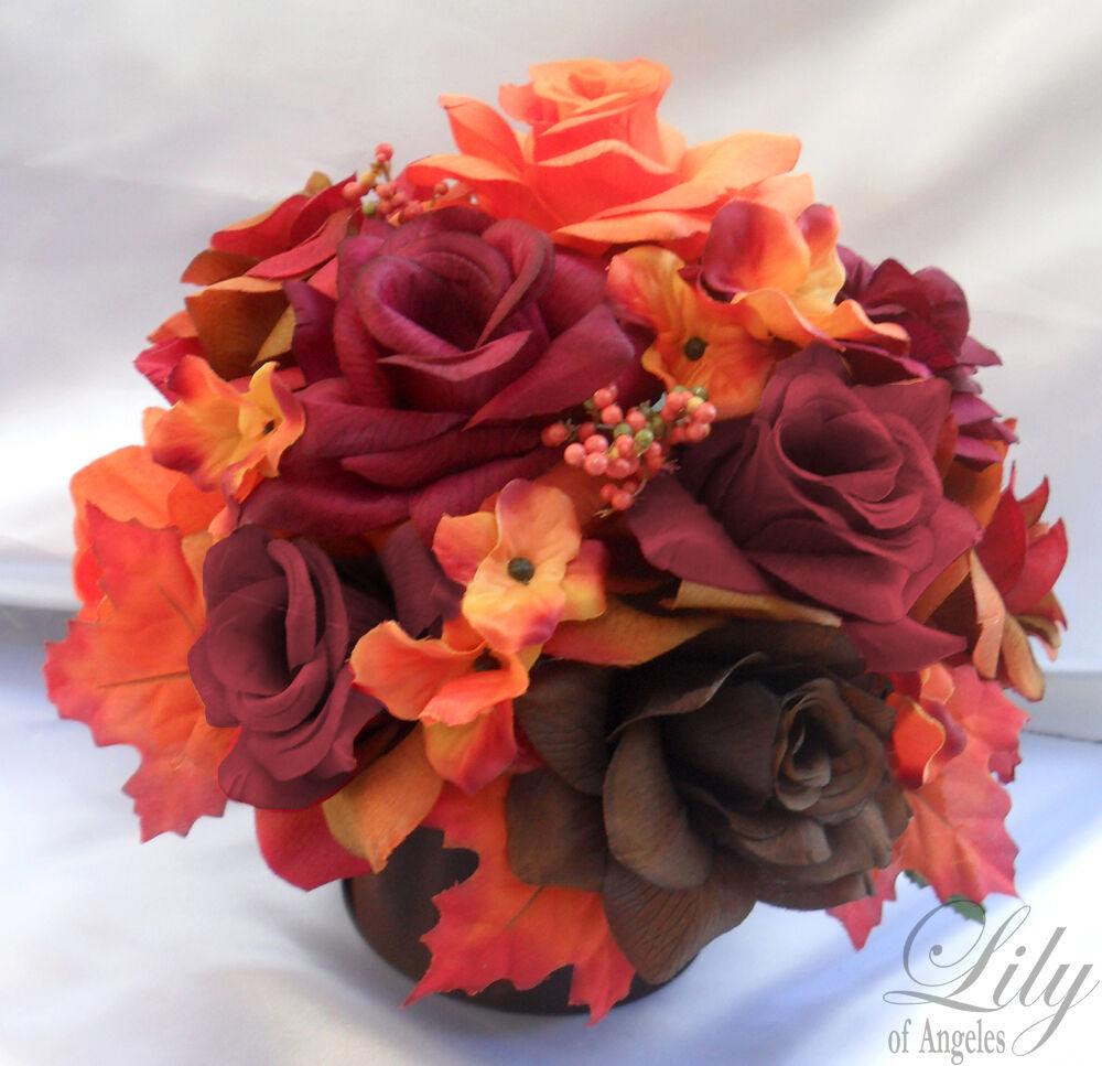 4 Centerpieces Wedding Table Decoration Center Flowers Vase Silk FALL Orange