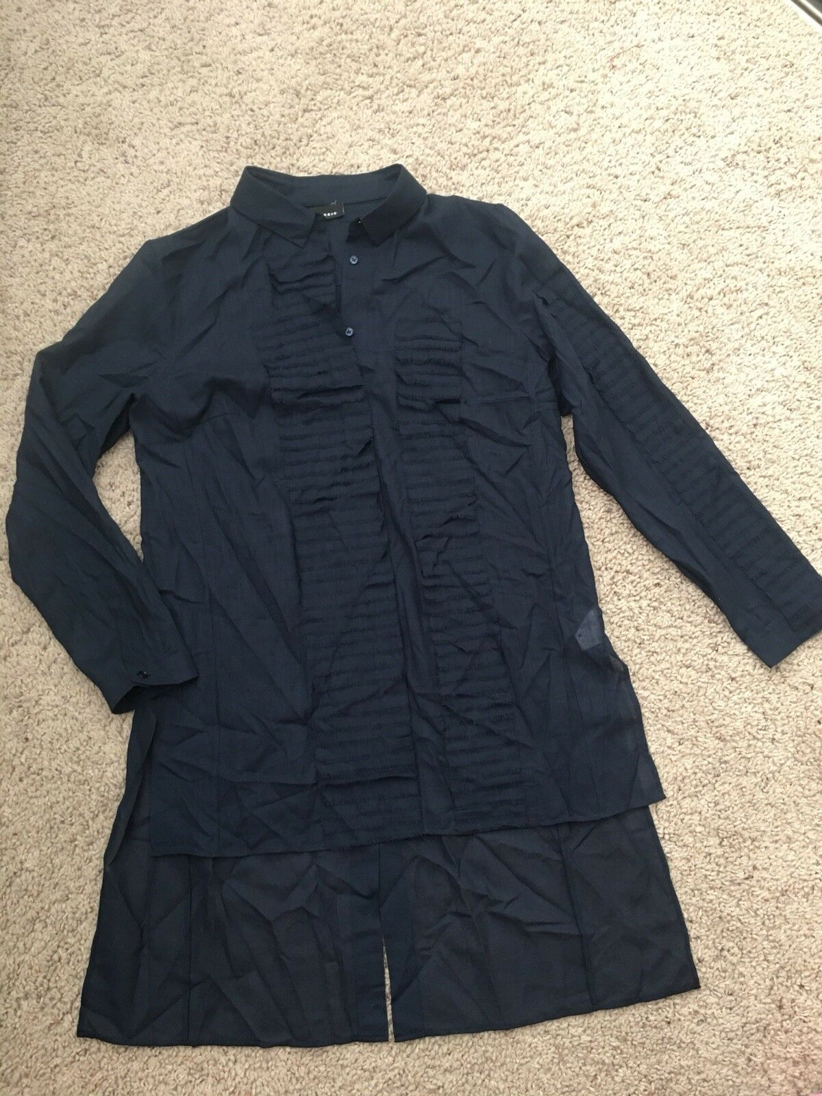 Akris Size 12 Navy bluee Wool Raw edges Layers Long Sleeve Tunic blouse