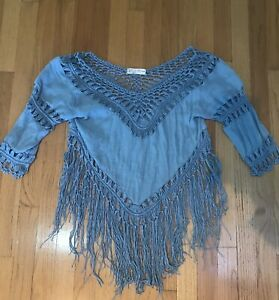 Stunning-Mirumi-Blue-Fringe-V-Neck-Blouse-Shirt-Top-Tassels-Size-Large-Ladies