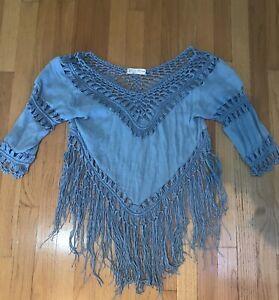 Stunning-Mirumi-Blue-Fringe-V-Neck-Blouse-Shirt-Top-Tassels-Size-Large-Ladies