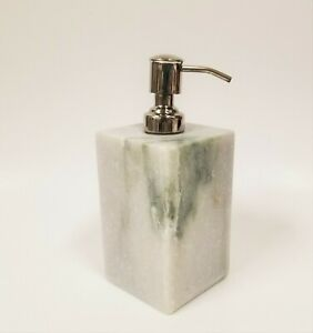 NEW-HANDCRAFTED-IN-INDIA-LIGHT-GREY-GRAY-MARBLE-STONE-SOAP-CHROME-PUMP-DISPENSER