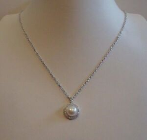 LADIES-925-STERLING-SILVER-NECKLACE-PENDANT-W-6-5MM-WHITE-PEARL-amp-50-CT-DIAMOND