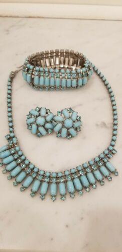 Rare Stunning Vtg. WARNER Turquoise Blue Rhineston