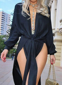 Black-Plunge-Slit-Front-Maxi-Dress-Boutique-Size-XS-L-Bloggers-Celeb-Style