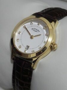 Rotary-Ladies-LS03900-06-Gold-Plated-Crystal-Swiss-Leather-Strap-Watch-99-NEW