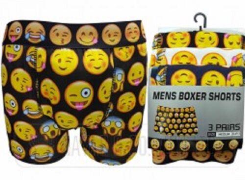 MEN/'S EMOTION COTTON LYCRA BOXER SHORTS SMILEY FACES EMOJI EMOTIONS UK SALES