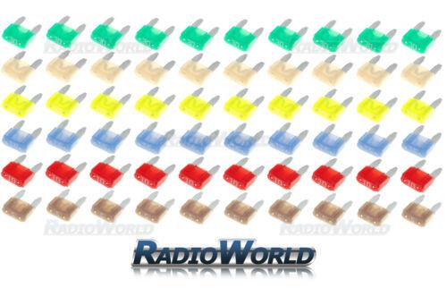 60 Assorted Car Automotive Mini Blade Fuse Fuses 5 10 15 20 25 30 AMP