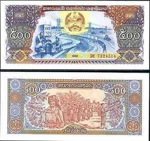 LAO-LAOS-500-KIP-1988-P-31-UNC-LOT-3-PCS