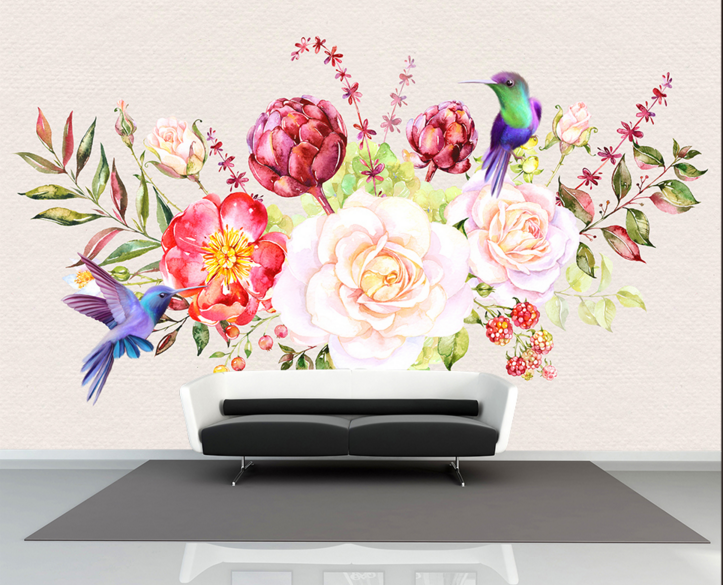 3D Farbe Bird Flower 8 Wall Paper Murals Wall Print Wall Wallpaper Mural AU Kyra