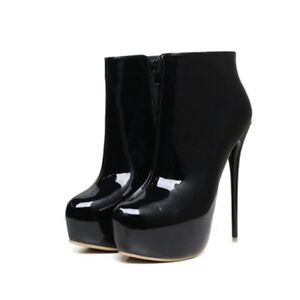 Womens-Men-High-Heel-Platform-Ankle-Boots-Drag-Queen-Stiletto-Zip-Up-Big-Shoes
