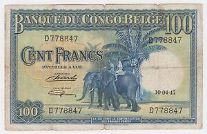 Belgian Congo 100 Francs 1947 P17c Fine Elephants Nyambo Oxen Original
