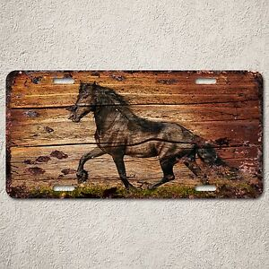 LP0163-Old-Vintage-Black-Horse-Sign-Auto-License-Plate-Home-Store-Gift-Decor