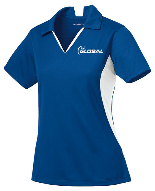 900 Global Women's Compass Performance Polo Bowling Shirt Dri-Fit Royal White