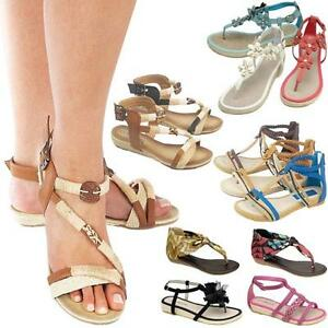 58c90efc4 LADIES FLAT SANDALS WOMENS GIRLS FANCY SUMMER PARTY GLADIATOR WEDGE ...