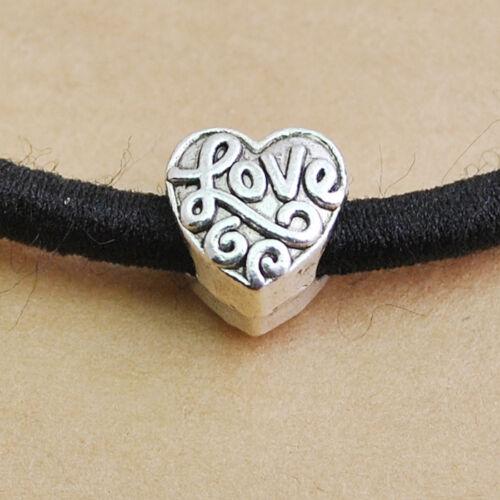 DZ141 10//20pcs Tibetan Silver Love Heart Spacer Beads10x10mm 4.5mm hole