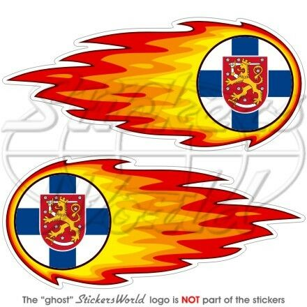 "5/"" Bumper Stickers Decals x2 FINLAND Finnish State Fireball-Fire-Flaming 125mm"