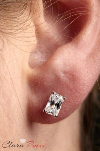 2.2ct Emerald Cut Stud Solitaire Earrings Gift Solid 14k White Gold Screw Back
