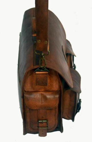 All Men/'s Genuine Vintage Brown Leather Messenger Shoulder Laptop Bag Briefcase