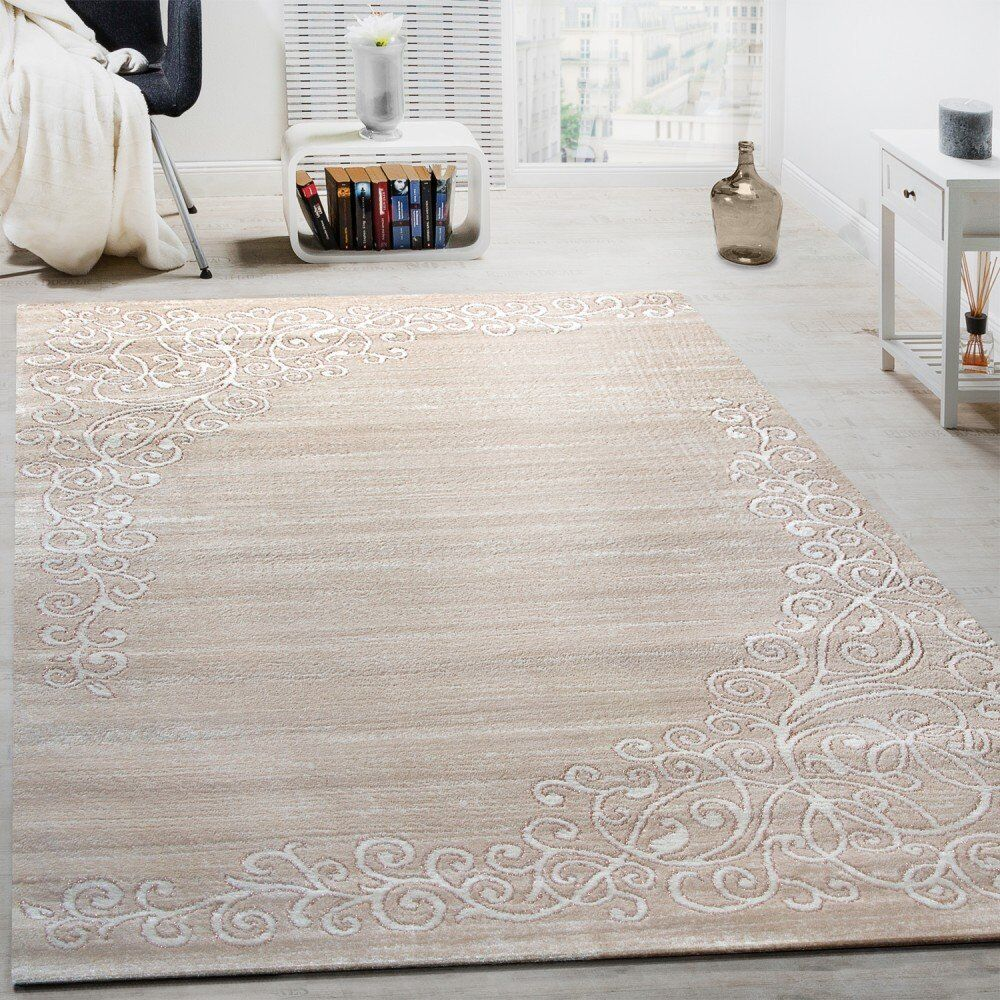 Cream Rug  Floral Sparkle Weiß Pattern Bedroom Rug Carpet Mat Small Extra Large