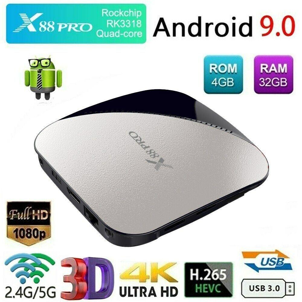 X88 PRO 4GB/32GB Android 9.0 TV BOX RK3318 Quad Core USB 2.4&5G WiFi 4K 3D Media android box core media pro quad rk3318 usb wifi x88