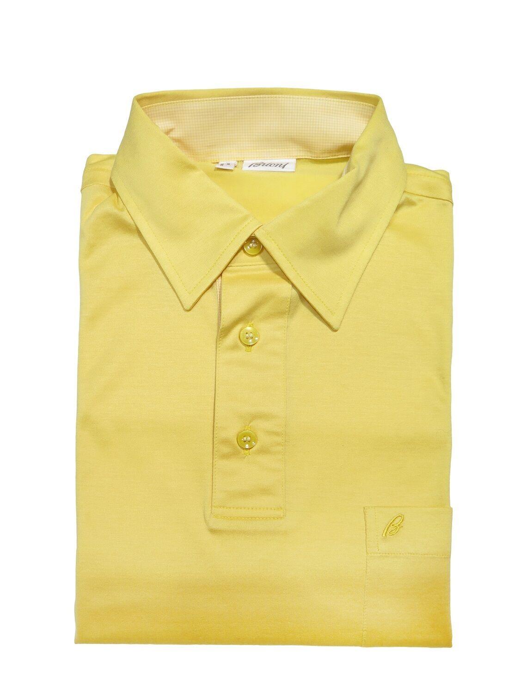 Brioni Brioni Brioni Italia Uomo Giallo Manica Corta 100% Cotton Polo T-Shirt TAGLIA S e09879
