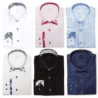 Mens Designer Cotton Formal Italian Slim Fit Shirt Contrast Collar S-4XL
