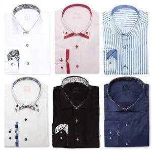 Mens-Designer-Cotton-Formal-Italian-Slim-Fit-Shirt-Contrast-Collar-S-4XL