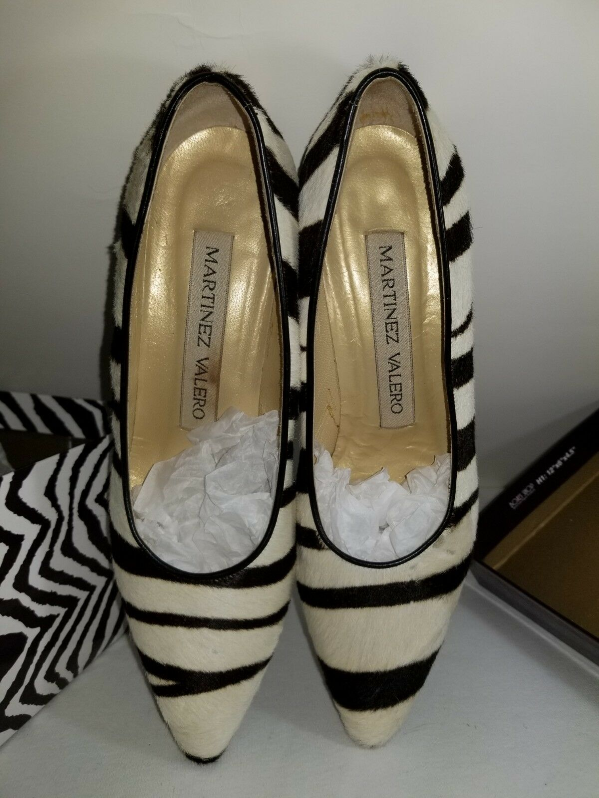 Vintage Martinez Valero shoes Pumps Leather Zebra Pattern and and and Fur 5e29d9