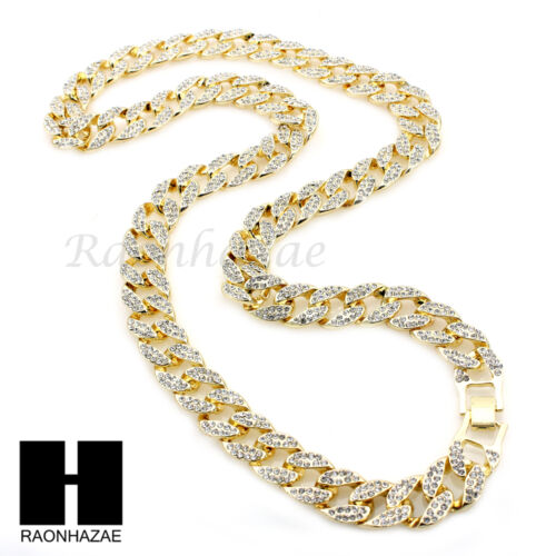 MEN/'S GOLD Iced 15mm CUBAN CHAIN RED RUBY BLING CROSS ROPE NECKLACE SET03