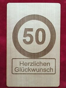 Karte 50 Geburtstag.Details Zu Grusskarte Aus Holz Geschenk Karte 50 Geburtstag 50 Geschenkkarte