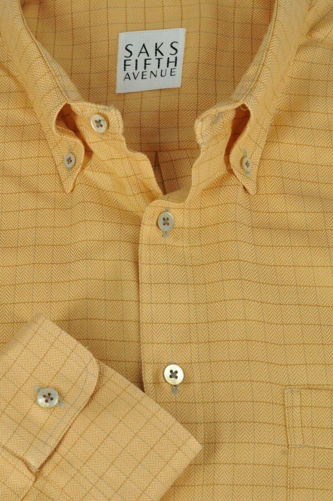 Saks Fifth Avenue Men's golden orange Grid Cotton Casual Shirt XL XLarge
