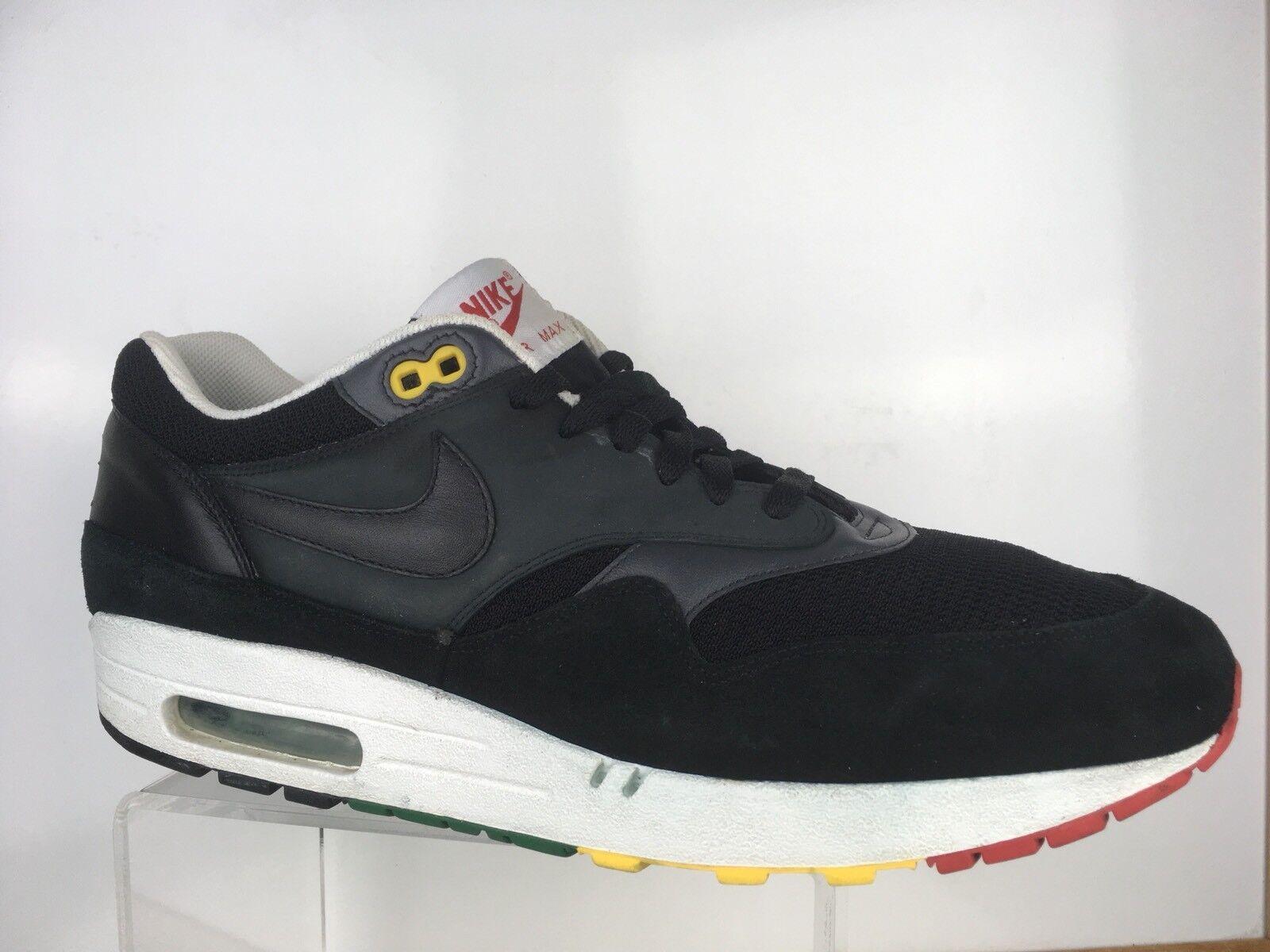 Nike Air Max 1 Rasta Mens Sz 13 307133-003 Blk Suede Reggae Jamaica No Insoles