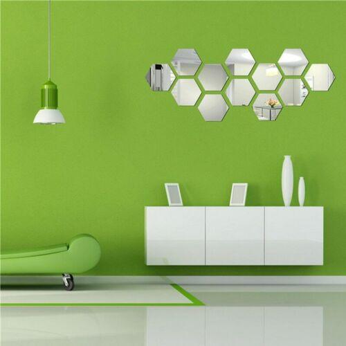 Wall Stickers 12Pcs  Mirror Hexagon Vinyl Removable Decal Home Décor Art DIY 3D