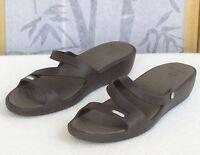 11-Crocs Womens Brown Slip-On Low Wedge Heel Slides Summer Beach Sandals Shoes