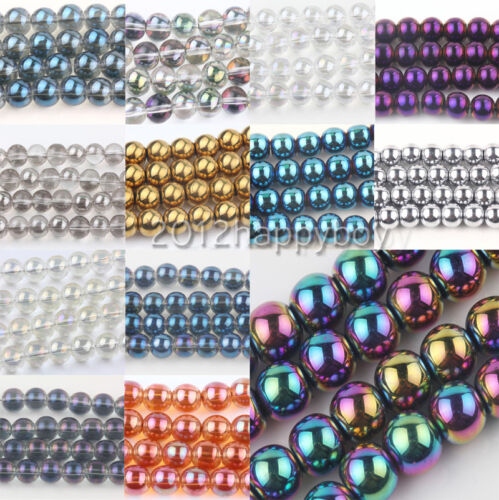 25//50PCS Smooth Crystal Spacer Loose Round Beads 8mm European Jewelry Making