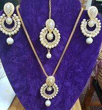 New Bollywood Style Costume Jewelry Designer Earrings & Necklace & Tikka Set