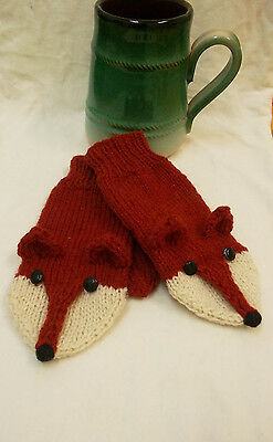 Knit Fox Red Fox Mittens Gloves Pure Wool Adult M Size