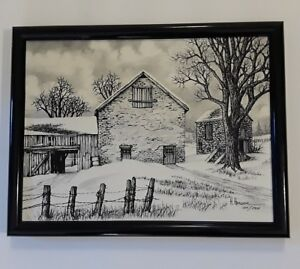 2e46fa620c5 H HARGROVE BLACK   WHITE BARN PAINTING Hand Signed Numbered STONE ...