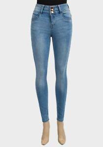 Mesdames-Taille-Haute-Skinny-Jeans-pour-Femme-Denim-Jeans-Bleu-Clair