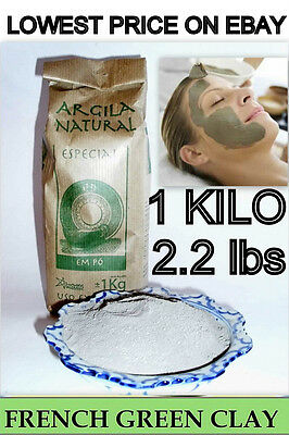 ILLITE FRENCH GREEN ORGANIC CLAY POWDER-2.2 LBS/35 OZ-THE BEST FOR FACE MASKS