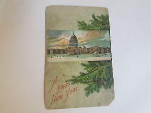 Greeting-Postcard-Vintage-Happy-new-Year-Building